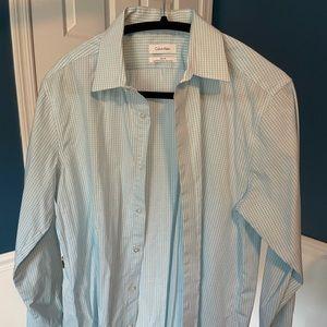 Calvin Klein shirt, M, slim fit, green and white